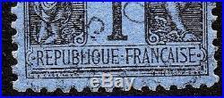 SUPERBE SAGE TYPE II N° 84 1c. BLEU DE PRUSSE OBLITERE CAD