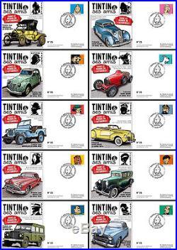 Série 10 FDC BELGIQUE TINTIN & Amis VOITURE / CITROËN 2CV & PEUGEOT 403 2014