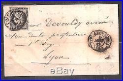TIMBRE No 3 FRANCE SUR LETTRE DU 3 JANVIER 1849 TARASCON-S-RHONE BELLE MARGE