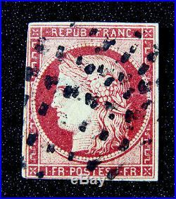 Timbre 1 fr Cérès 1849 Carmin Cerise n°6 oblitéré