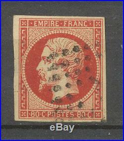 Timbre France Napoléon 80c. Vermillioné foncé, nuance rare, obl, SUP X3917