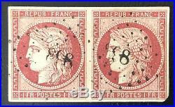 Timbres De France Classique Cérès Nº6 Paire Obl Pc Cote 2 350 Signée Calves
