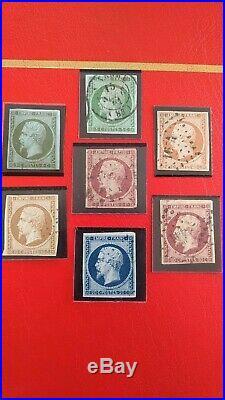 Timbres classiques de France. Timbre Napoléon n 18. Lot de 7 timbres Napoléon