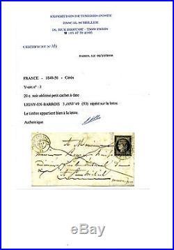 Tres Belle Lettre Du 3 Janvier 1849 Rare Avec Certificat Voir Details