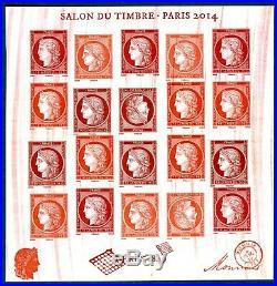 Variété bloc feuillet F4871 vermillon 2014 gros essuyage du rouge RARE