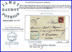 Vermillon foncé le plus rare 1 franc n°7 c sur lettre oblitéré grille